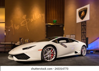 DETROIT, MI/USA - JANUARY 11, 2015: Lamborghini Huracan at The Gallery, an event sponsored by the North American International Auto Show (NAIAS) and the MGM Grand Detroit.