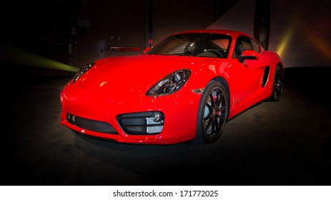 DETROIT, MI/USA - JANUARY 12: A 2014 Porsche Cayman S at The Gallery, an event sponsored by the North American International Auto Show (NAIAS) and the MGM Grand Detroit, January 12, 2014.