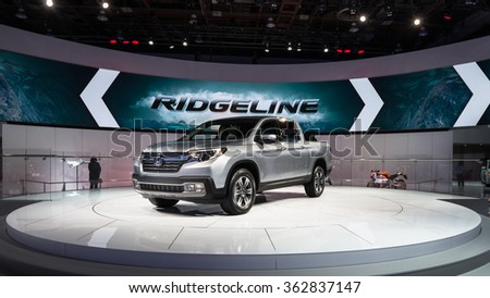 DETROIT, MI/USA - JANUARY 12, 2016: Honda Ridgeline truck at the North American International Auto Show (NAIAS), one of the most influential car shows in the world each year.