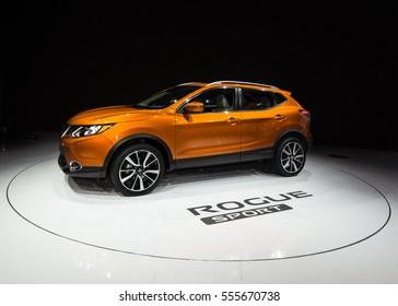 DETROIT, MI/USA - JANUARY 12, 2017: A 2017 Nissan Rogue Sport (Qashqai) SUV at the North American International Auto Show (NAIAS).