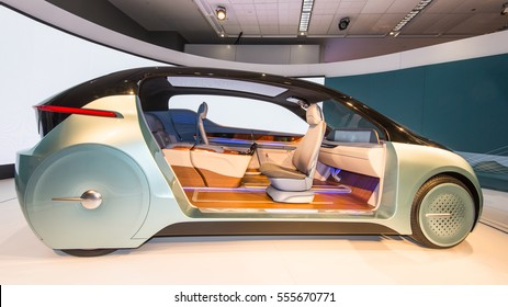 DETROIT, MI/USA - JANUARY 12, 2017: Yanfeng XiM17 Autonomous Concept car Interior at the North American International Auto Show (NAIAS).