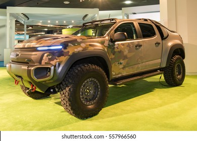 DETROIT, MI/USA - JANUARY 12, 2017: A Chevrolet Colorado Military ZH2 SUV at the North American International Auto Show (NAIAS).