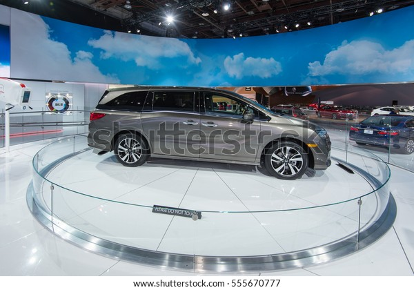 DETROIT, MI/USA - JANUARY 12, 2017: A 2018 Honda Odyssey minivan at the North American International Auto Show (NAIAS).