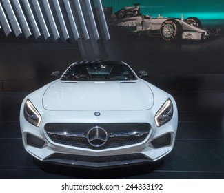 DETROIT, MI/USA - JANUARY 14, 2015: Mercedes AMG GT  S car at the North American International Auto Show (NAIAS), one of the most influential car shows in the world each year.