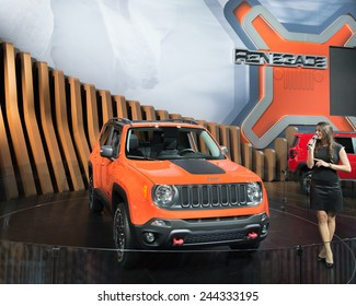 DETROIT, MI/USA - JANUARY 14, 2015: Jeep Renegade Trailhawk at the North American International Auto Show (NAIAS), one of the most influential car shows in the world each year.