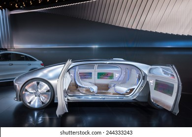 DETROIT, MI/USA - JANUARY 14, 2015: Mercedes F 015 Concept car at the North American International Auto Show (NAIAS), one of the most influential car shows in the world each year.