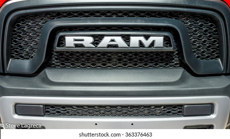 DETROIT, MI/USA - JANUARY 14, 2016: Dodge RAM 1500 Rebel truck grille at the North American International Auto Show (NAIAS), one of the most influential car shows in the world each year.
