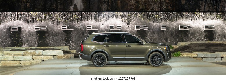 DETROIT, MI/USA - JANUARY 14, 2019: A 2020 Kia Telluride SUV at the North American International Auto Show (NAIAS), one of the most influential car shows in the world each year.