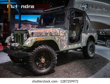 DETROIT, MI/USA - JANUARY 14, 2019: Mahindra Roxor ORV, based on a Willys Jeep, at the North American International Auto Show (NAIAS).