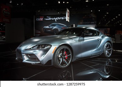 DETROIT, MI/USA - JANUARY 14, 2019: Toyota Supra fifth-generation car, with a BMW engine, at the North American International Auto Show (NAIAS).