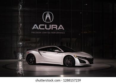 DETROIT, MI/USA - JANUARY 14, 2019: A 2019 Acura NSX car at the North American International Auto Show (NAIAS).