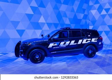 DETROIT, MI/USA - JANUARY 14, 2019: A 2020 Ford Explorer Hybrid Police Interceptor SUV at the North American International Auto Show (NAIAS).