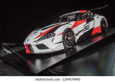 DETROIT, MI/USA - JANUARY 14, 2019: A Toyota Gazoo Racing Supra Concept racecar #90 at the North American International Auto Show (NAIAS).