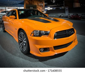 DETROIT, MI/USA - JANUARY 15: A 2014 Dodge Charger Super Bee car at the North American International Auto Show (NAIAS) on January 15, 2014, in Detroit, Michigan.