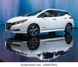 DETROIT, MI/USA - JANUARY 15, 2018: A 2018 Nissan Leaf car at the North American International Auto Show (NAIAS), one of the most influential car shows in the world each year.