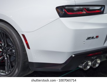 DETROIT, MI/USA - JANUARY 15, 2018: Close up of 2018 Chevrolet Camaro ZL-1 exhaust at the North American International Auto Show (NAIAS), one of the most influential car shows in the world each year.
