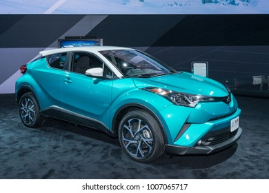 DETROIT, MI/USA - JANUARY 15, 2018: A Toyota C-HR car at the North American International Auto Show (NAIAS), one of the most influential car shows in the world each year.