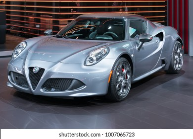 DETROIT, MI/USA - JANUARY 15, 2018: A 2018 Alfa Romeo 4C car at the North American International Auto Show (NAIAS), one of the most influential car shows in the world each year.