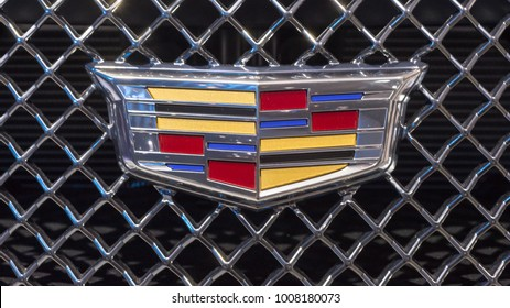 DETROIT, MI/USA - JANUARY 15, 2018: Close up of a 2018 Cadillac CTS-V grill at the North American International Auto Show (NAIAS), one of the most influential car shows in the world each year.