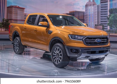 DETROIT, MI/USA - JANUARY 15, 2018: A 2019 Ford Ranger Lariat FX4 truck at the North American International Auto Show (NAIAS), one of the most influential car shows in the world each year.