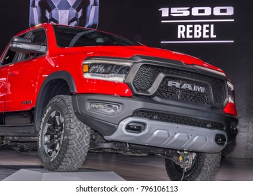 DETROIT, MI/USA - JANUARY 15, 2018: A A 2019 Dodge Ram Rebel 1500 truck at the North American International Auto Show (NAIAS), one of the most influential car shows in the world each year.