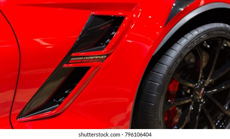 DETROIT, MI/USA - JANUARY 15, 2018: Close up of a 2018 Chevy Corvette Grand Sport duct at the North American International Auto Show (NAIAS), one of the most influential shows in the world each year.