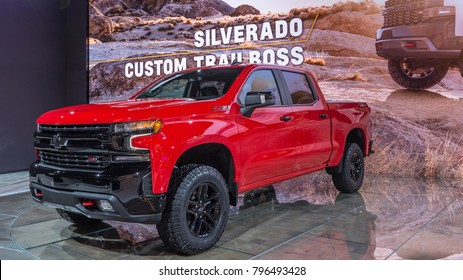 DETROIT, MI/USA - JANUARY 15, 2018: A 2019 Chevrolet Silverado ZL1 Trail Boss truck at the North American International Auto Show (NAIAS), one of the most influential car shows in the world each year.