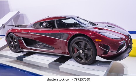DETROIT, MI/USA - JANUARY 15, 2018: A Koenigsegg Agera RS car at the North American International Auto Show (NAIAS), one of the most influential car shows in the world each year.