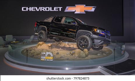 DETROIT, MI/USA - JANUARY 15, 2018: A 2018 Chevrolet Colorado ZR2 truck at the North American International Auto Show (NAIAS), one of the most influential car shows in the world each year.