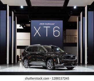 DETROIT, MI/USA - JANUARY 15, 2019: A 2020 Cadillac XT6 SUV at the North American International Auto Show (NAIAS).