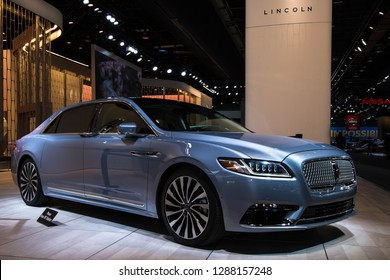 DETROIT, MI/USA - JANUARY 15, 2019: 80th Anniversay Lincoln Continental car, with center-opening doors, at the North American International Auto Show (NAIAS).