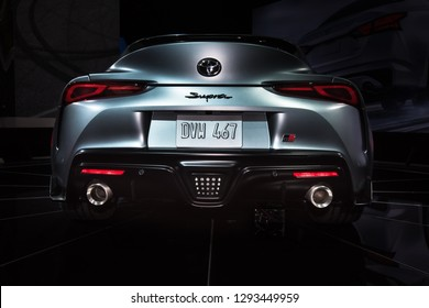 DETROIT, MI/USA - JANUARY 15, 2019: A 2020 Toyota Supra fifth-generation car, with a BMW engine, at the North American International Auto Show (NAIAS).