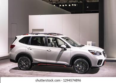 DETROIT, MI/USA - JANUARY 15, 2019 Subaru Forrester Sport SUV at the North American International Auto Show (NAIAS).