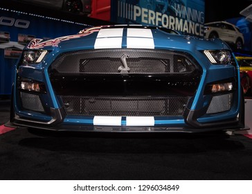 DETROIT, MI/USA - JANUARY 15, 2019: Close-up of a 2020 Ford Shelby Cobra Mustang GT500 grill, at the North American International Auto Show (NAIAS).