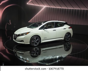 DETROIT, MI/USA - JANUARY 16, 2018: A 2018 Nissan Leaf car at the North American International Auto Show (NAIAS), one of the most influential car shows in the world each year.