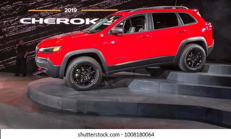 DETROIT, MI/USA - JANUARY 16, 2018: A 2019 Jeep Cherokee vehicle at the North American International Auto Show (NAIAS), one of the most influential car shows in the world each year.