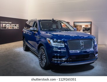 "DETROIT, MI/USA - JANUARY 16, 2018: A 2018 Lincoln Navigator truck at the North American International Auto Show (NAIAS). Named ""North American Truck of the Year (NACTOY)"