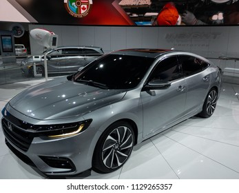 DETROIT, MI/USA - JANUARY 16, 2018: A 2019 Honda Insight EV car at the North American International Auto Show (NAIAS).