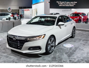 "DETROIT, MI/USA - JANUARY 16, 2018: A 2018 Honda Accord car at the North American International Auto Show (NAIAS). Named ""North American Car of the Year (NACTOY)."