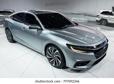 DETROIT, MI/USA - JANUARY 16, 2018: A 2019 Honda Insight car at the North American International Auto Show (NAIAS), one of the most influential car shows in the world each year.