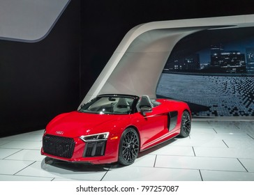 DETROIT, MI/USA - JANUARY 16, 2018: A 2018 Audi R8 V10 Spyder Plus car at the North American International Auto Show (NAIAS), one of the most influential car shows in the world each year.