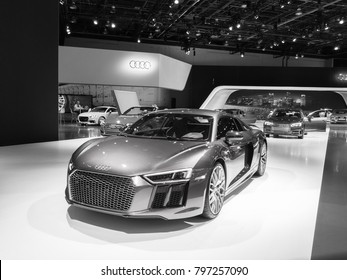 DETROIT, MI/USA - JANUARY 16, 2018: A 2018 Audi R8 V10 car at the North American International Auto Show (NAIAS), one of the most influential car shows in the world each year.