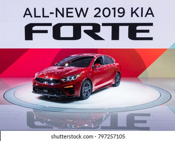 DETROIT, MI/USA - JANUARY 16, 2018: A 2019 Kia Forte car at the North American International Auto Show (NAIAS), one of the most influential car shows in the world each year.