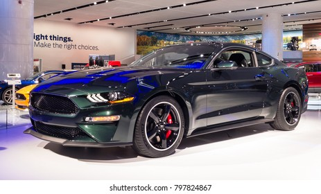 DETROIT, MI/USA - JANUARY 16, 2018: A 2019 Ford Mustang Bullitt 50 Anniversary Edition car at the North American International Auto Show (NAIAS), one of the most influential car shows each year.
