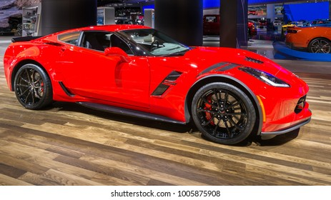 DETROIT, MI/USA - JANUARY 17, 2018: A 2018 Chevrolet Corvette Grand Sport car at the North American International Auto Show (NAIAS), one of the most influential car shows in the world each year.