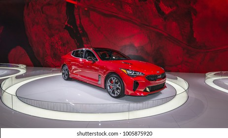 DETROIT, MI/USA - JANUARY 17, 2018: A 2018 Kia Stinger GT2 car at the North American International Auto Show (NAIAS), one of the most influential car shows in the world each year.