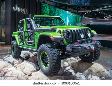 DETROIT, MI/USA - JANUARY 17, 2018: A 2018 Jeep Mopar Wrangler Rubicon vehicle at the North American International Auto Show (NAIAS), one of the most influential car shows in the world each year.