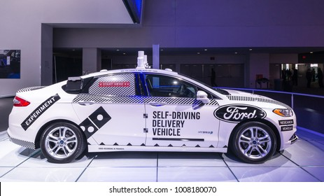 DETROIT, MI/USA - JANUARY 17, 2018: A Ford Fusion Roush Performance autonomous research car (a.k.a. Self-Driving Delivery Vehicle) at the North American International Auto Show (NAIAS).