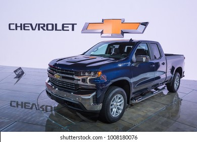 DETROIT, MI/USA - JANUARY 17, 2018: A 2019 Chevrolet Silverado LT truck at the North American International Auto Show (NAIAS), one of the most influential car shows in the world each year.