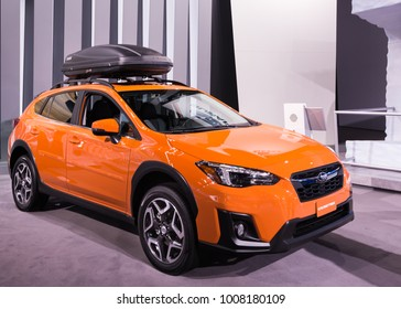 DETROIT, MI/USA - JANUARY 17, 2018: A 2018 Subaru Crosstrek car at the North American International Auto Show (NAIAS), one of the most influential car shows in the world each year.